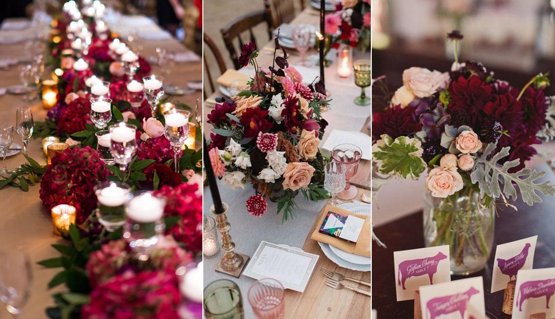 20 Burgundy Wedding Centerpieces Roses Amp Rings