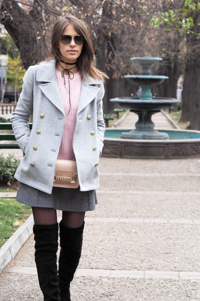 choker boots pink and gray outfit