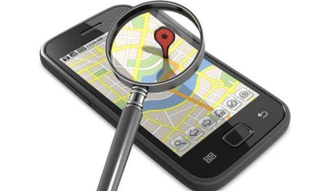 Smart phone displaying map