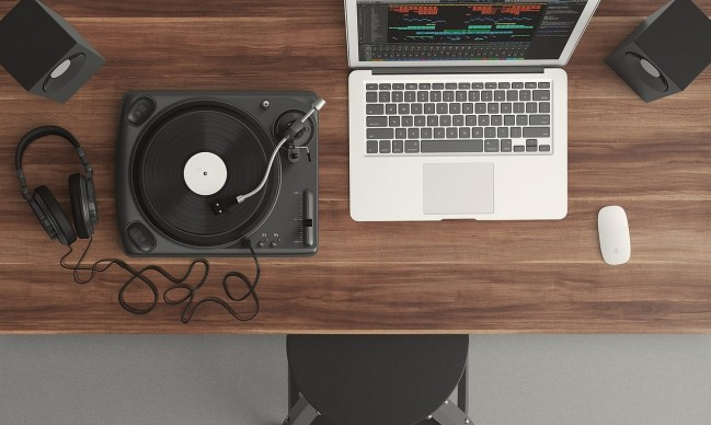 laptop and a disc recorder