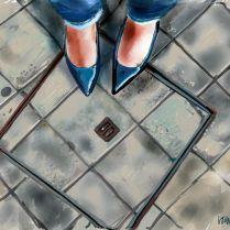 blue lacquer shoes