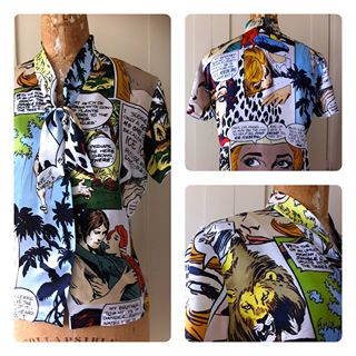 Comic strip themed italian silk shirt