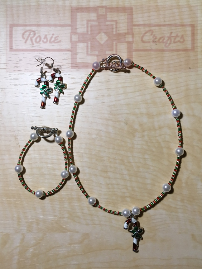 Rosie Crafts Christmas Candy Cane Artisan Jewelry Set