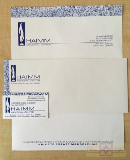 Rosie Crafts Haimm Memorial Company Business Stationary