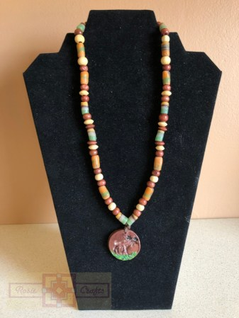 Rosie Crafts Polymer Clay Moose Necklace