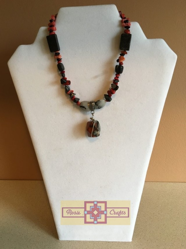 Artisan Tribes Black/Red Pendant Necklace Close Up