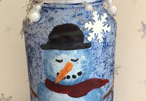 Rosie Crafts Painted Snowman Jar