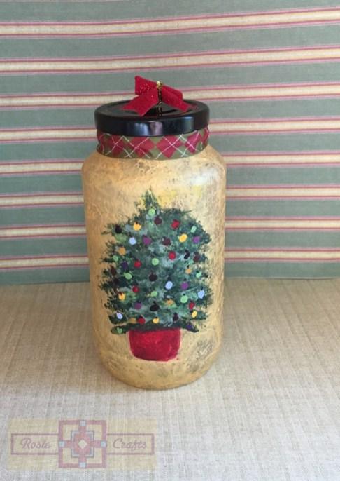 Rosie Crafts Painted Christmas Tree Jar
