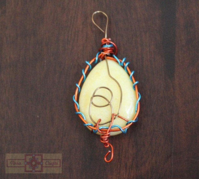 Rosie Crafts Yellow Stone Wire Wrapped Pendant