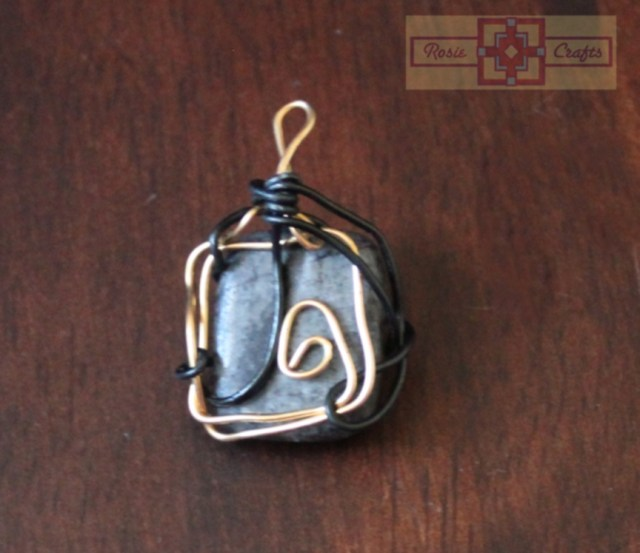 Rosie Crafts Black Stone Wire Wrapped Pendant