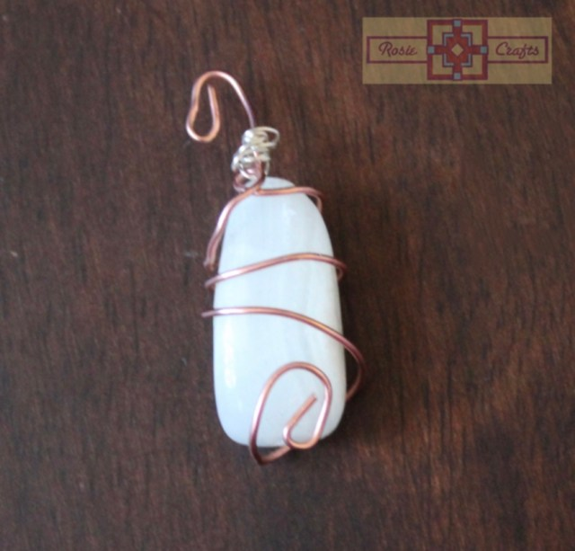 Rosie Crafts White Stone Wire Wrapped Pendant