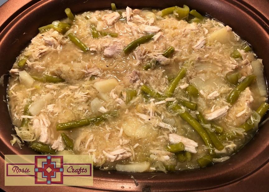 Rosie Crafts Pork Roast with Sauerkraut and String Beans