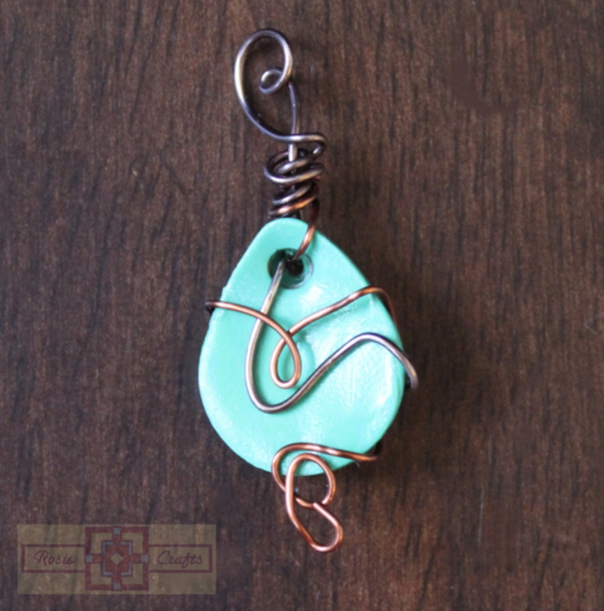 Artisan Tribes Polymer Clay Teardrop Turquoise Wire Wrapped Pendant