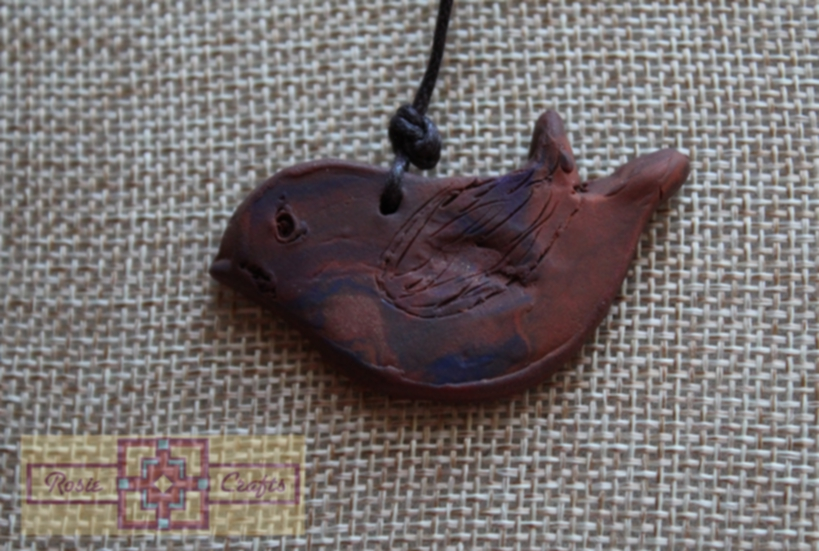Artisan Tribes Polymer Clay Bird Wire Wrapped Pendant