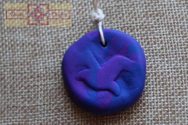 Rosie Crafts Polymer Clay Dove Bird Jewelry Pendant