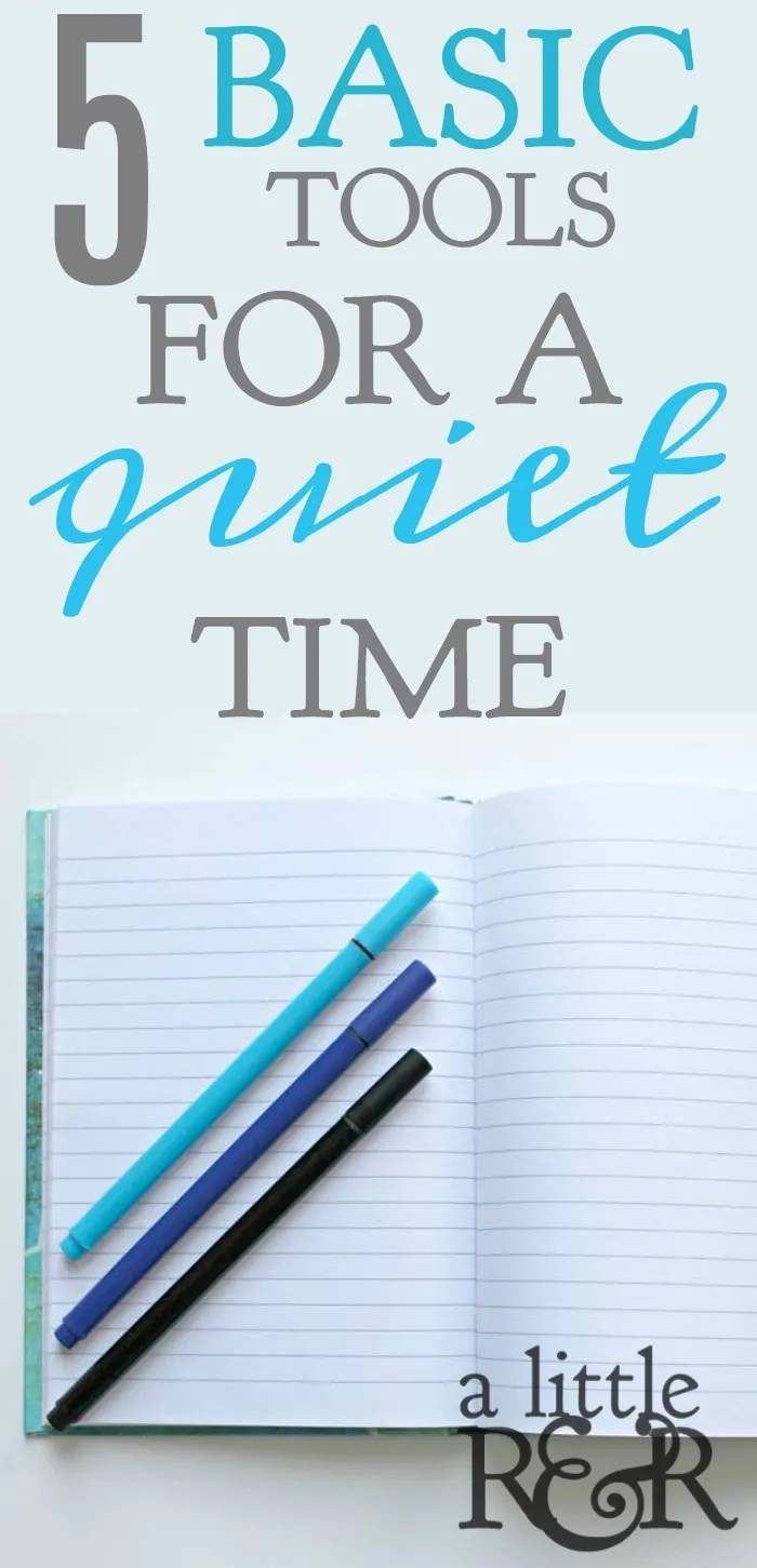 5 basoc tools for a quiet time blue and black pens on an open notebook