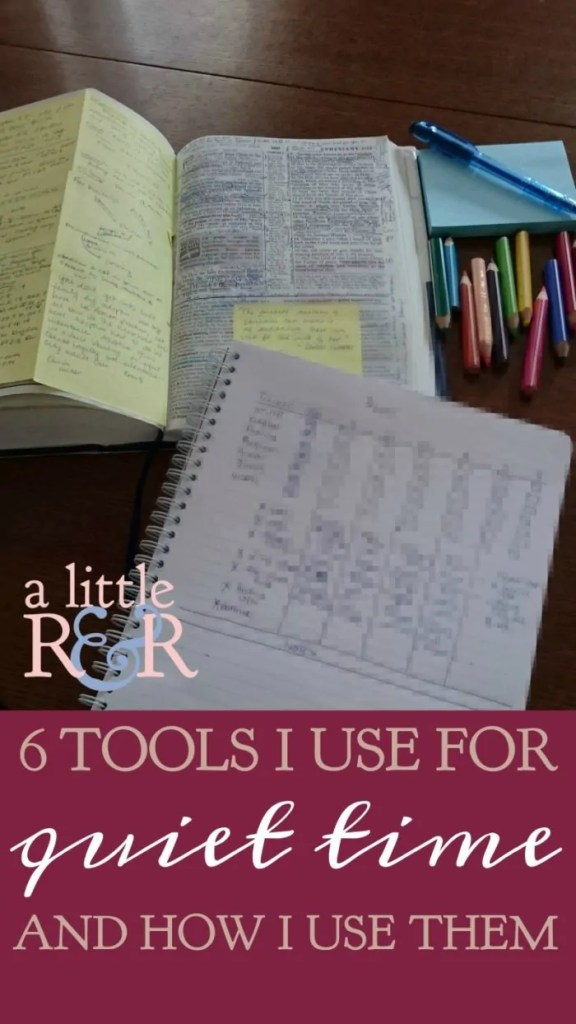 Its easy to get overwhelmed with all the tools and printables that could be used in a quiet time. I keep it very simple. In this article I show you the 6 things I use and how I use them.