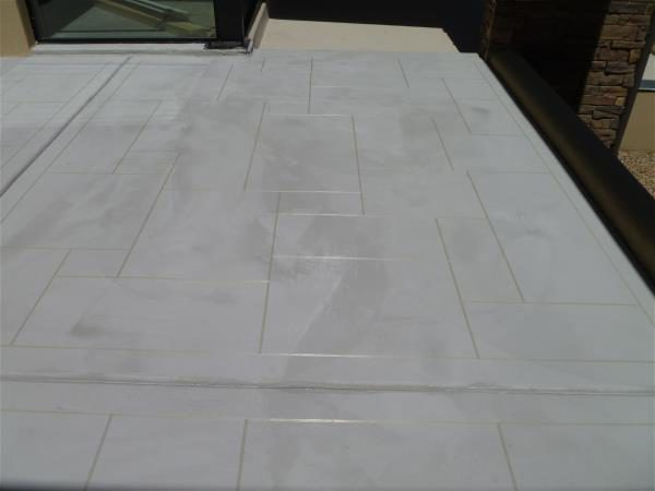 Tape lines on the south patio