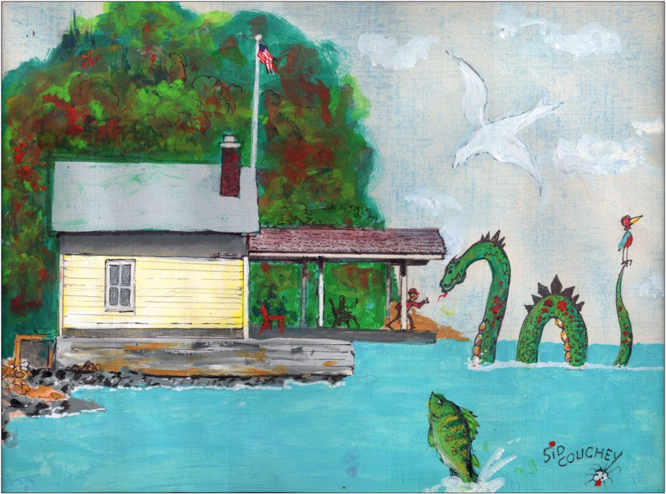 Rosslyn Boathouse, by Essex artist and cartoonist, Sid Couchey.
