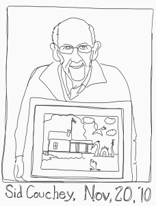 Sid Couchey presents painting of Rosslyn boathouse on November 20, 2010.