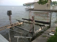 Boat Lift Moved in to Shallow(er) Water for Repair