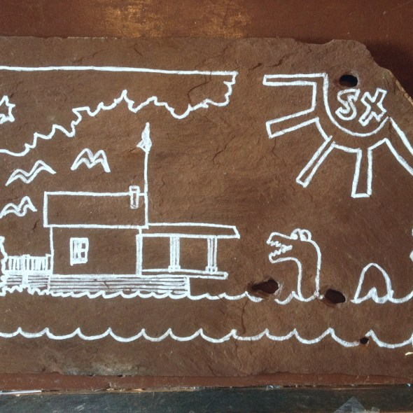 Rosslyn boathouse doodle on a slate for Adirondack Art Association fundraiser