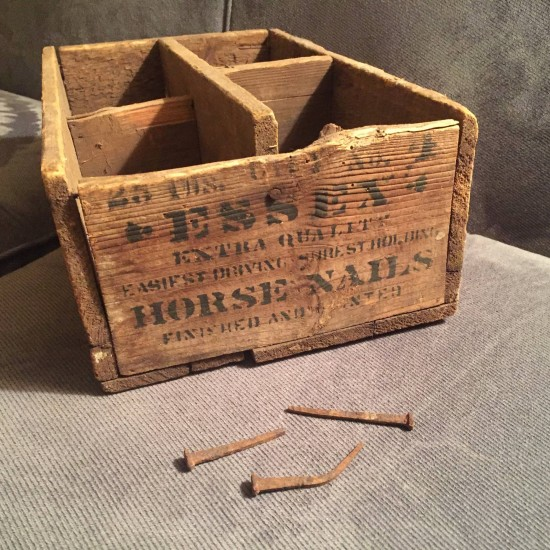 Horse Nails and Crate from Essex Horse Nail Company / Factory (Source: Dianne Lansing via Essex on Lake Champlain)