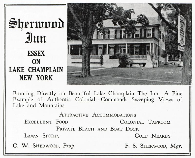Sherwood Inn advertisement from 1949 Adirondack Guide. (Source: Adirondack Guide via David Brayden)