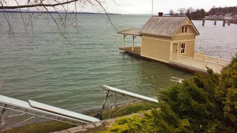 Lake Champlain Boathouse Blues: water level nearing flood stage on April 21, 2017 (Source: Katie Shepard)