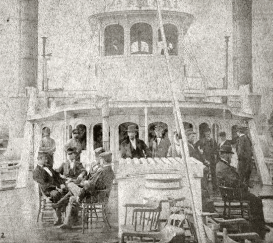 Detail from Steamer Vermont Stereoview, photographed by S.R. Stoddardc. 1870
