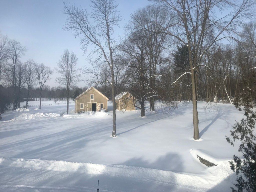 """Winter Wonderland 2019: Rosslyn's carriage barn and ice house buried in 20-24"""" of fresh snow. (Credit: P.M.)"""