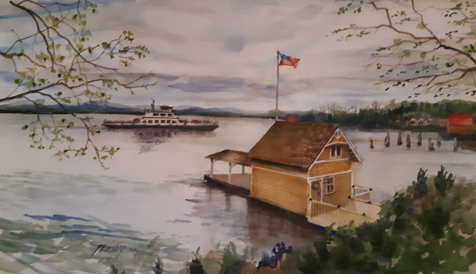 Rosslyn Boathouse, circa 2019 (watercolor painting by Ric Feeney)