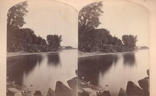 Vintage stereoview of Blood's Bay in Essex, New York
