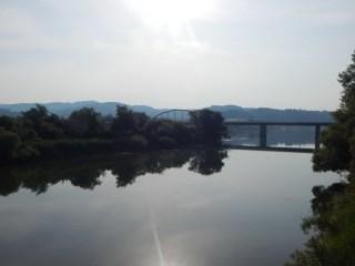 Die Donauinsel und im Hintergrund die Autobahnbrücke