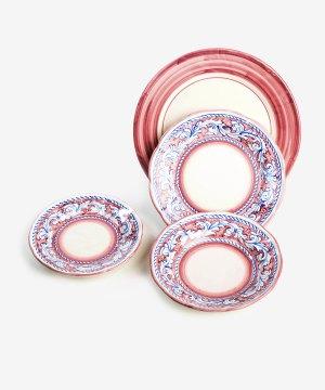 RARDTV01 servizio piatti ceramica vietri decorato rosso avossa rossoaltramonto