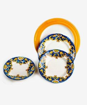 RARDTV05 servizio piatti ceramica vietri decorato santa chiara blu avossa rossoaltramonto