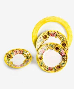 RARDTV06 servizio piatti ceramica vietri decorato giallo avossa rossoaltramonto
