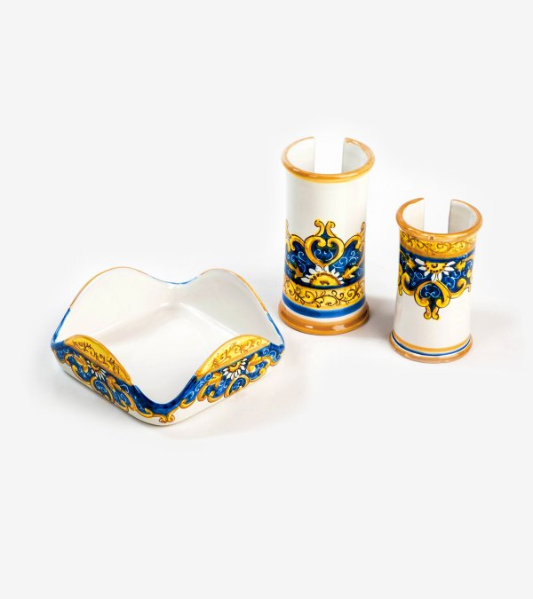RARDTV59 portatovaglioli portabicchieri blu ceramica vietri avossa rossoaltramonto