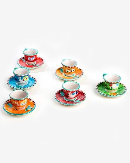 RARDTV68 tazzine caffe decoro vietrese ceramica vietri avossa rossoaltramonto
