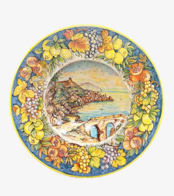 RARTS002 piatto decorato mano ceramica vietri avossa rossoaltramonto