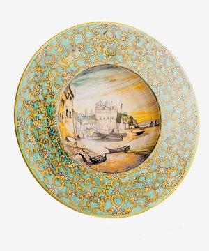 RARTS003 piatto ceramica vietri decorato contadine avossa rossoaltramonto
