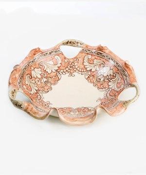 RCNTR004 fruttiera ceramica vietri 3 manici romantica avossa rossoaltramonto