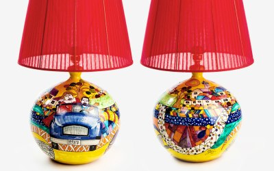 RGIO012 lampada ceramica vietri sfera ballo costiera amalfitana avossa rossoaltramonto
