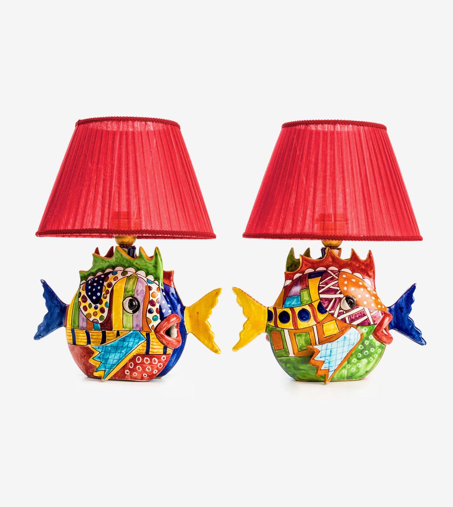 Lampade In Ceramica Di Vietri.Ceramiche Vietri Avossa Lampada Doppio Pesce