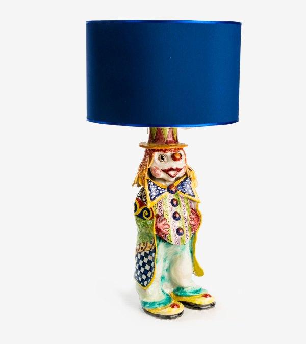 RGIO015 lampada ceramica vietri pagliaccio avossa rossoaltramonto