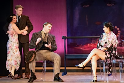 L to R Emily Dwyer as Zelda Fitzgerald , Frankie Stornaiuolo as Scott Fitzgerald, Izaak Heath as Reporter, Jannely Calmell as Grace