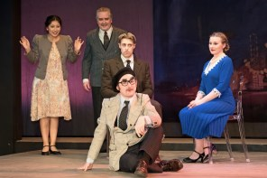L to R Jannely Calmell and Ron Talbot as Groucho's Pals, Frankie Stornaiuolo as Scott Fitzgerald, Peter Warden as Groucho Marx, Marissa Ellison as Sheilah Graham