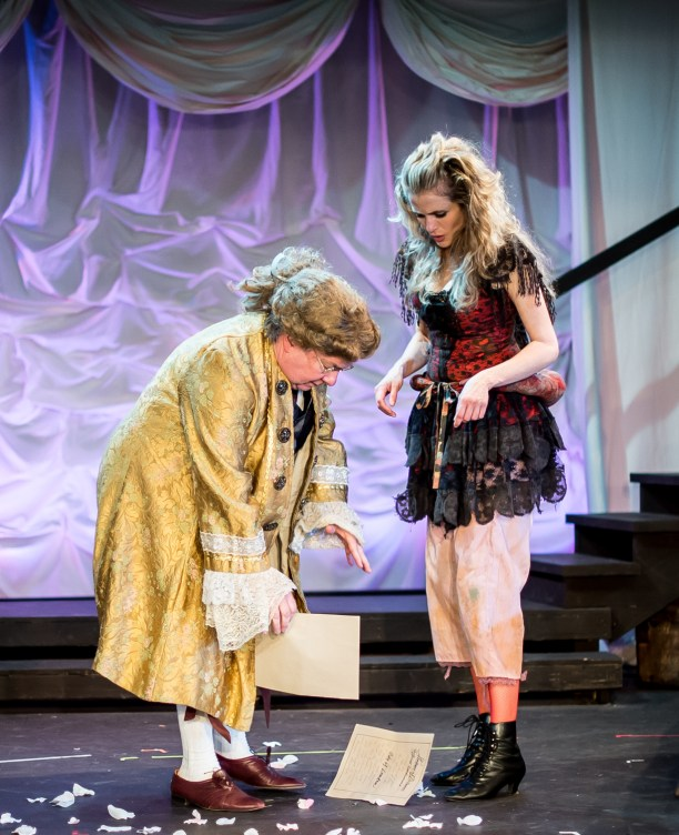 L-R - Stephen Dietz as Banker, Amber Collins Crane as Moll Flanders