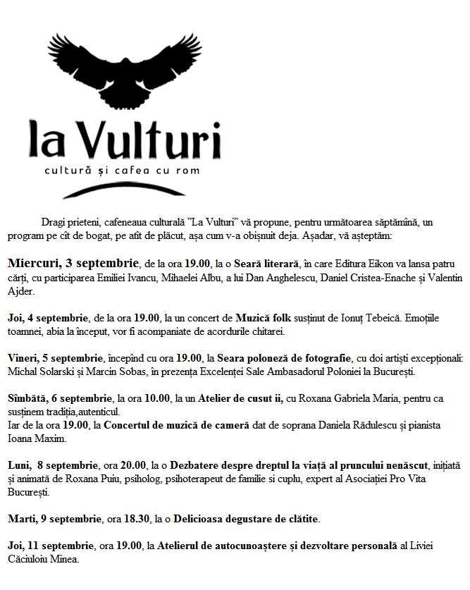 program inceput de sept 2014 La Vulturi
