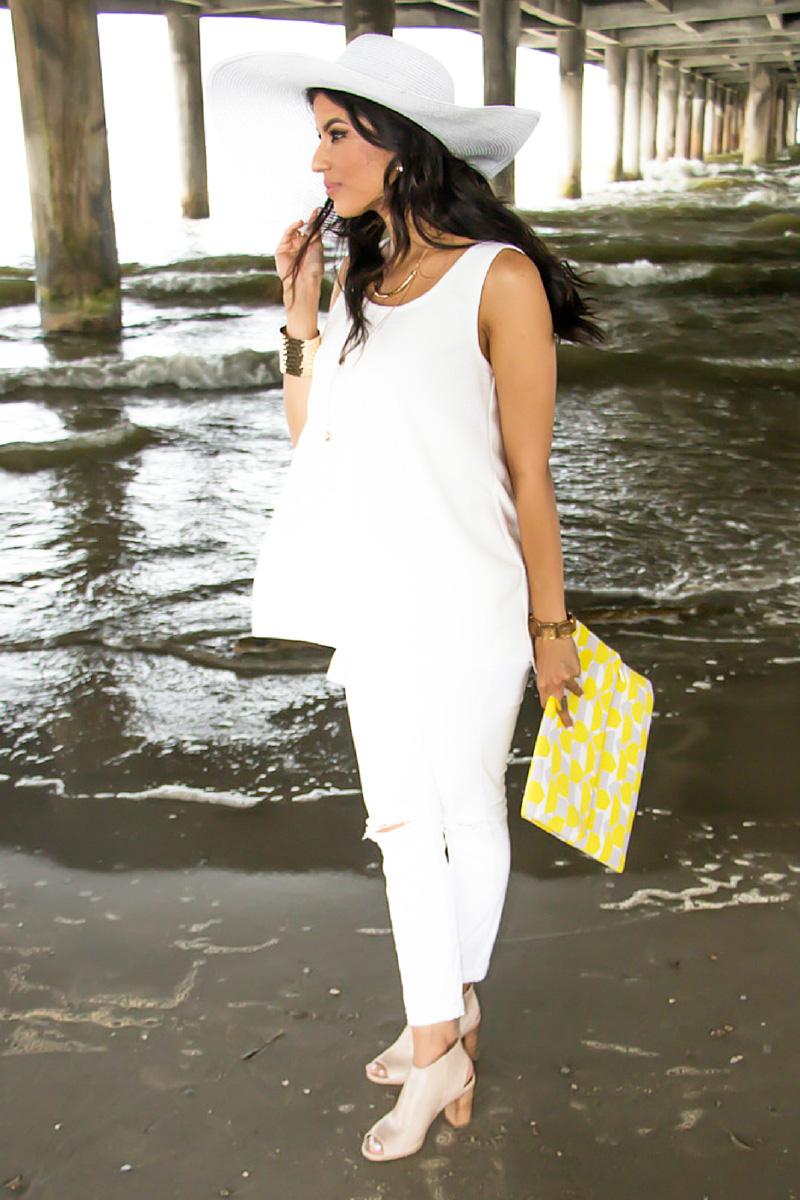 Beach Side OOTD + Yellow Clutch - M6751